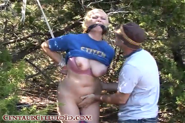Blonde Kordelia Devonshire Tied Strappado in the Woods, Stripped and Groped in Outdoors Bondage Video