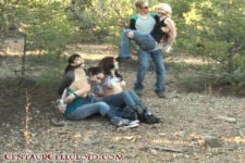 4 Damsels Kidnapped, Tied Up, Stripped Topless & Barefoot In Outdoors Bondage
