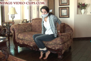 Babysitter Julia Faire Plays Billy's Tied-Up Hopping Game Barefoot In Jeans