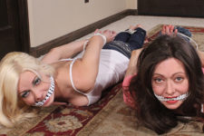 Babysitters Danielle Trixie and Natasha Flade Barefoot Hogtied in Jeans