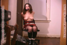 asian justine kou handgagged chair tied topless in boots