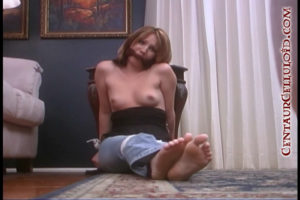 19 Year Old Blonde Bridgette Webb Tied Up Topless & Barefoot in Jeans