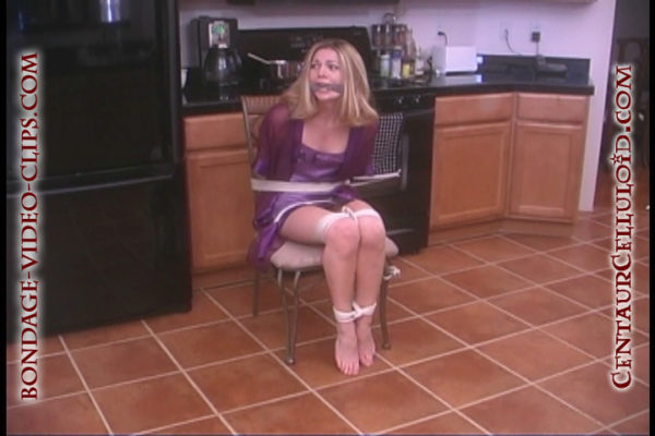 Chloe Night Chair Tied and Cleave Gagged in first every damsel in distress video
