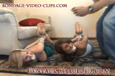 Barefoot Justine Adams & Daphne Paige Hogtied & Packing Gagged for Ransom!