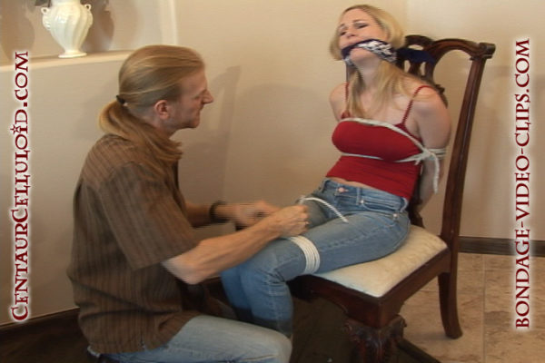 blonde justine adams chairtied cleavegagged topless sneakers
