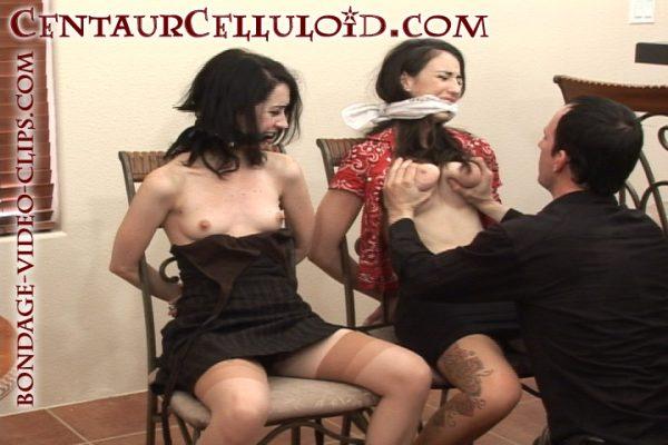 Mina Meow & Natalie Minx Handgagged, Chairtied, Gagged in Skirts & Heels!