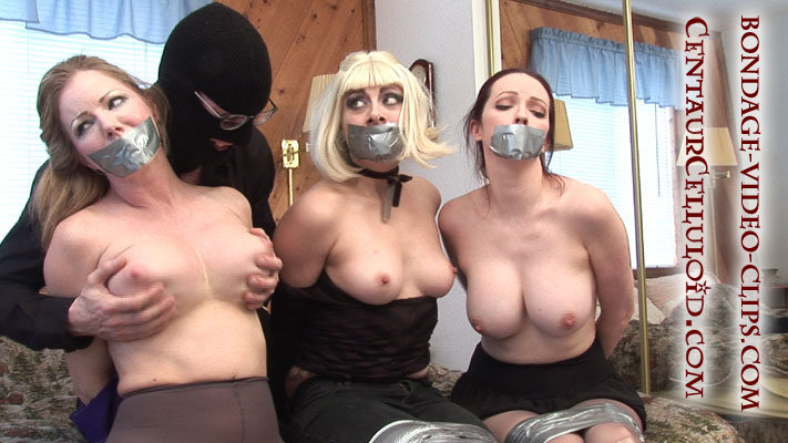 3 Big Boobed Roomies Duct Taped Up by 2 Men with Knives!