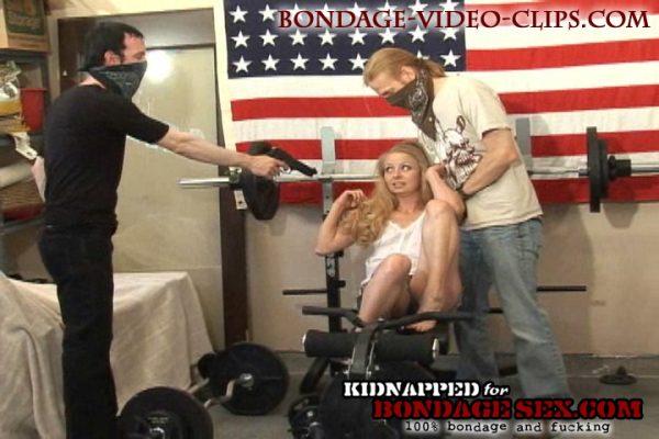 blonde gang bound barefoot for bondage sex