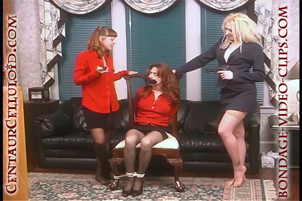 Secretary Natasha Flade Chairtied, Tape Gagged & Groped by Two Women! pantyhose