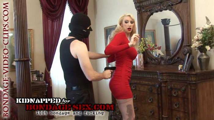 Natalie Minx in High Heels, Stockings, Red Dress and Forced Bondage Sex!
