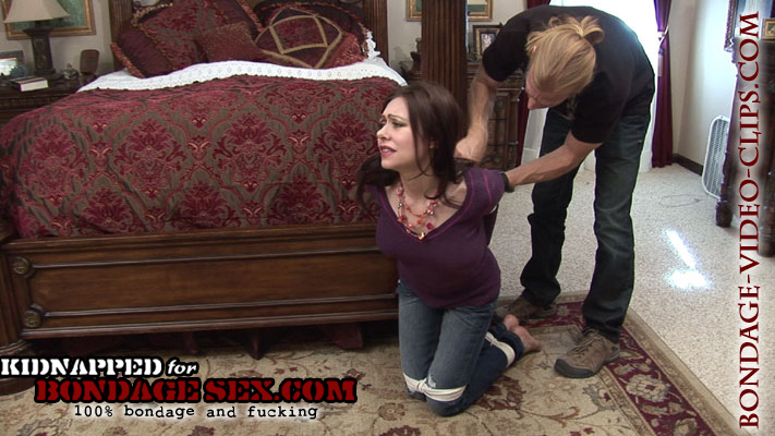 Barefoot Housewife Natasha Flade Tied Up Kneeling for Bondage Blowjob