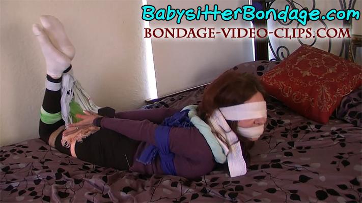 Aunt Natasha Hogtied & Blindfolded in Scarf & Sweater Bondage Wearing White Socks!