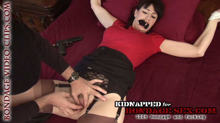 Natalie Minx Tied Up at Gunpoint, Spread, Panty Gagged & Tape Gagged