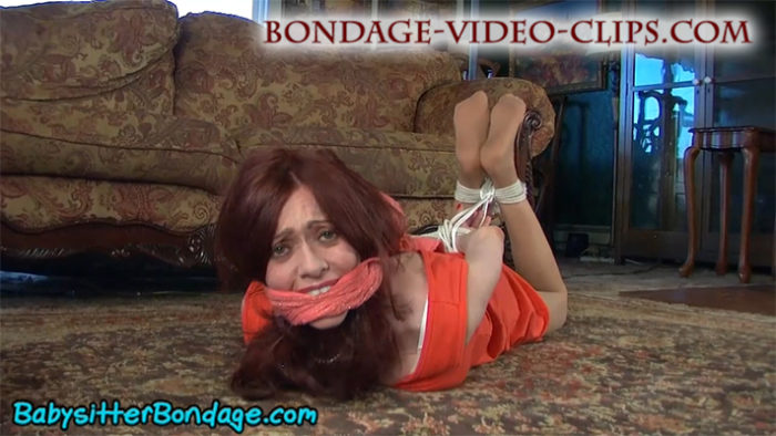 Redhead MILF Natasha Flade Hogtied In Dress and Pantyhose By Her Sons