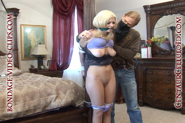 Blonde Danielle Trixie Post Tied, Cleave Gagged & Stripped Down to Just Heels