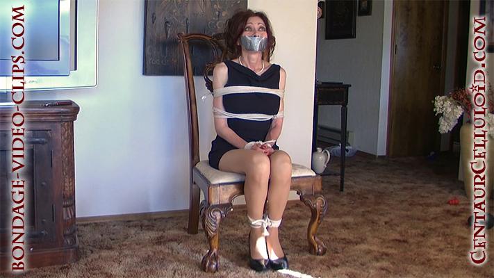 Natasha Flade Chairtied & Tape Gagged in Pantyhose Bondage Struggle Video!