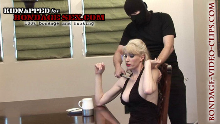 Blonde Natalie Minx Tied Upside Down In Stockings for Blowjob & Facial!