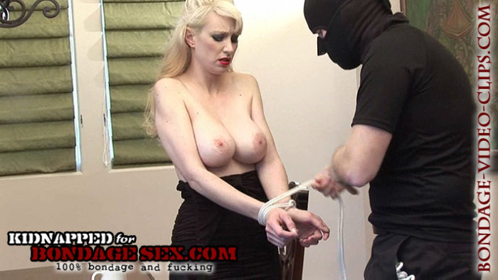 Blonde Natalie Minx Forced to Strip, Tied Upside Down on Tabletop in Pantyhose for Bondage Blowjob and Huge Facial!