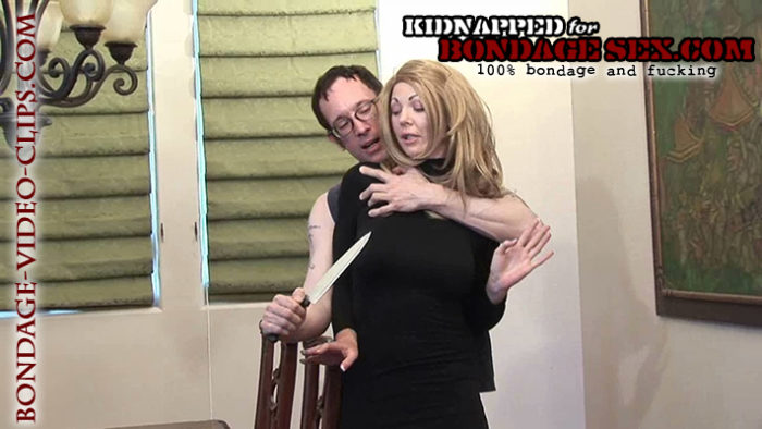 Blonde Chloe Night Tied Up in Sweater Dress and Heels by Armed Stalker For Fucking Another Guy | Bondage Sex Videos on Kidnapped for Bondage Sex