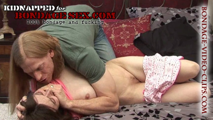 Natasha Flade Carried In for Handgagged Groping & Barefoot Hogtied Blowjob On Bed!