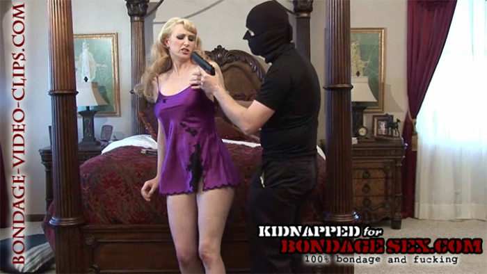 Blonde Natalie Minx Frogtied & Tapegagged in Nightgown at Gunpoint for Bondage Sex!