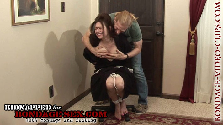 Housewife Natasha Flade Handgagged and Chairtied Barefoot In Bath Robe by Home Intruder in Bondage Blowjobs Video