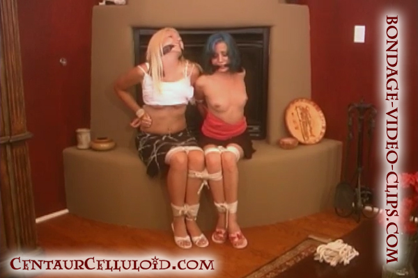 Blonde Britnigh Banks and Amerika Tied-Up Topless Together On the Fireplace in Skirts and Heels