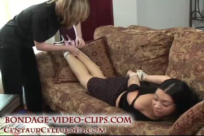 Latina Dianni Hogtied In Heels and Groped by Chloe in Bondage Video