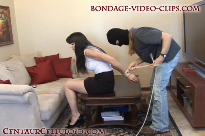 Natalie Minx & French Morganne Paris Handgagged & Tied Back-to-Back In Skirts & Heels By Masked Invader!