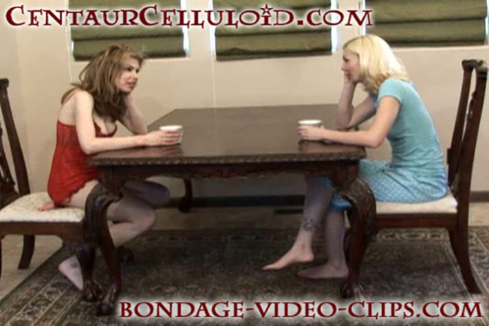 Barefoot Damsels Candle Boxxx and Chloe Night Tied to Table Leg In Lingerie and Stripped Topless By Robber