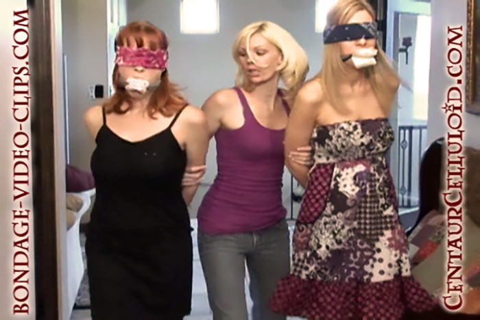 Justine Adams & Redhead Indica Marched Gagged & Blindfolded, Chair-Tied & Stripped Topless for Chloe's Gang Initiation!