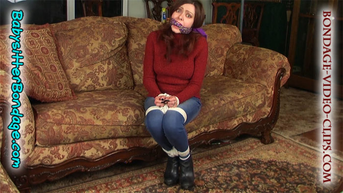 Aunt Natasha Flade Tied Up By Her Nephews While Sleeping In Ankle Boots & Jean Leggings